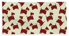 Hand Towel featuring the mixed media Scottie Dog Plaid by Christina Rollo