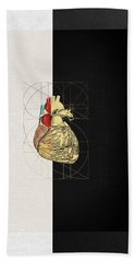 Hand Towel featuring the digital art Dualities - Half-gold Human Heart On Black And White Canvas by Serge Averbukh
