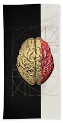 Hand Towel featuring the digital art Dualities - Half-gold Human Brain On Black And White Canvas by Serge Averbukh