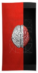 Hand Towel featuring the digital art Dualities - Half-silver Human Brain On Red And Black Canvas by Serge Averbukh