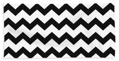 Black White Geometric Pattern Bath Towel