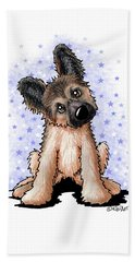 Curious Shepherd Puppy Hand Towel
