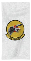 Bath Towel featuring the digital art 27th Fighter Squadron - 27 Fs Patch Over White Leather by Serge Averbukh
