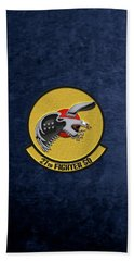 Bath Towel featuring the digital art 27th Fighter Squadron - 27 Fs Over Blue Velvet by Serge Averbukh
