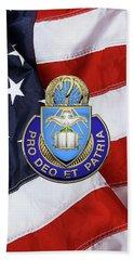 Bath Towel featuring the digital art U.s. Army Chaplain Corps - Regimental Insignia Over American Flag by Serge Averbukh
