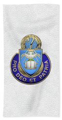 Bath Towel featuring the digital art U.s. Army Chaplain Corps - Regimental Insignia Over White Leather by Serge Averbukh