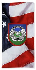 Bath Towel featuring the digital art U. S.  Air Force Tactical Air Control Party -  T A C P  Beret Flash With Crest Over American Flag by Serge Averbukh
