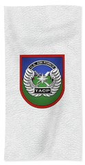 Bath Towel featuring the digital art U. S.  Air Force Tactical Air Control Party -  T A C P  Beret Flash With Crest Over White Leather by Serge Averbukh