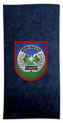 Bath Towel featuring the digital art U. S.  Air Force Tactical Air Control Party -  T A C P  Beret Flash With Crest Over Blue Velvet by Serge Averbukh