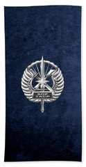 Bath Towel featuring the digital art U.s. Air Force Tactical Air Control Party - Special Tactics Tacp Crest Over Blue Velvet by Serge Averbukh
