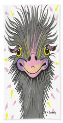 Hair Raising Day - Contemporary Ostrich Art Bath Towel