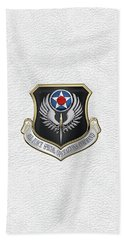 Air Force Special Operations Command -  A F S O C  Shield Over White Leather Hand Towel by Serge Averbukh
