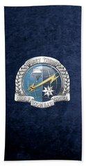 U. S.  Air Force Combat Control Teams - Combat Controller C C T Badge Over Blue Velvet Bath Towel by Serge Averbukh