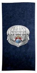 U. S.  Air Force Pararescuemen - P J Badge Over Blue Velvet Hand Towel by Serge Averbukh