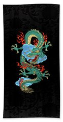 The Great Dragon Spirits - Turquoise Dragon On Black Silk Bath Towel by Serge Averbukh