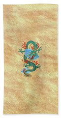 The Great Dragon Spirits - Turquoise Dragon On Rice Paper Bath Towel by Serge Averbukh