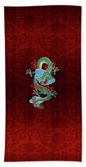 The Great Dragon Spirits - Turquoise Dragon On Red Silk Bath Towel by Serge Averbukh