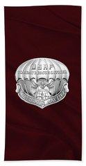 U. S.  Air Force Combat Rescue Officer - C R O Badge Over Maroon Felt Hand Towel by Serge Averbukh