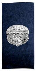 U. S.  Air Force Combat Rescue Officer - C R O Badge Over Blue Velvet Hand Towel by Serge Averbukh