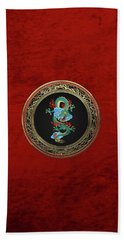 Treasure Trove - Turquoise Dragon Over Red Velvet Bath Towel by Serge Averbukh