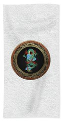 Treasure Trove - Turquoise Dragon Over White Leather Bath Towel by Serge Averbukh