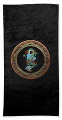 Treasure Trove - Turquoise Dragon Over Black Velvet Hand Towel by Serge Averbukh