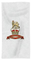 Canadian Provost Corps - C Pro C Badge Over White Leather Bath Towel by Serge Averbukh