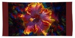 Rainbow Hibiscus Tropical Flower Wall Art Botanical Oil Painting Radiance  Bath Towel