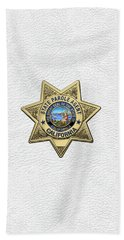 California State Parole Agent Badge Over White Leather Bath Towel by Serge Averbukh