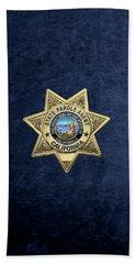 California State Parole Agent Badge Over Blue Velvet Bath Towel by Serge Averbukh