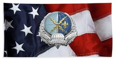 Special Operations Weather Team -  S O W T  Badge Over American Flag Hand Towel by Serge Averbukh