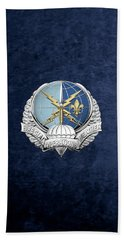 Special Operations Weather Team -  S O W T  Badge Over Blue Velvet Hand Towel by Serge Averbukh
