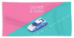 Miami Vice Crockett Tubbs - Magenta Bath Towel