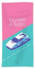 Miami Vice Crockett Tubbs - Magenta Bath Towel