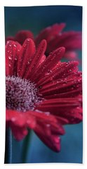 Hand Towel featuring the photograph Gerbera Red Jewel by Sharon Mau