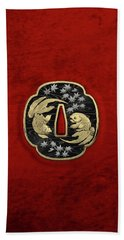 Japanese Katana Tsuba - Twin Gold Fish On Black Steel Over Red Velvet Hand Towel