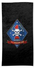 U S M C  1st Reconnaissance Battalion -  1st Recon Bn Insignia Over Black Velvet Hand Towel