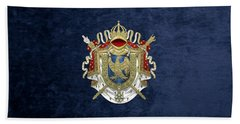 Greater Coat Of Arms Of The First French Empire Over Blue Velvet Bath Towel