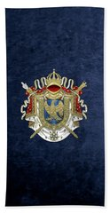 Greater Coat Of Arms Of The First French Empire Over Blue Velvet Hand Towel