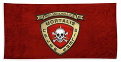 U S M C  3rd Reconnaissance Battalion -  3rd Recon Bn Insignia Over Red Velvet Bath Towel