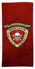 U S M C  3rd Reconnaissance Battalion -  3rd Recon Bn Insignia Over Red Velvet Hand Towel