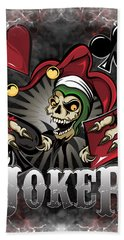 Joker Poker Skull Hand Towel