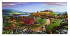 Folk Art Blackberry Patch Rural Country Farm Landscape Painting - Blackberries Rustic Americana Hand Towel