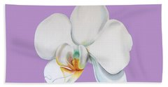Hand Towel featuring the digital art Orchid On Lilac by Elizabeth Lock