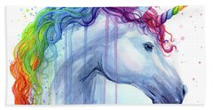 Rainbow Unicorn Watercolor Hand Towel