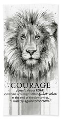 Lion Courage Motivational Quote Watercolor Animal Bath Towel