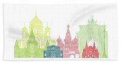 Moscow Russia Skyline Hand Towel