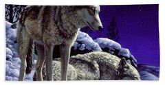 Wolf Painting - Night Watch Bath Towel