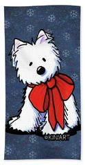 Kiniart Westie In Red Bow Bath Towel