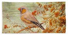 Zebra Finch Among Almond Trees Bath Towel